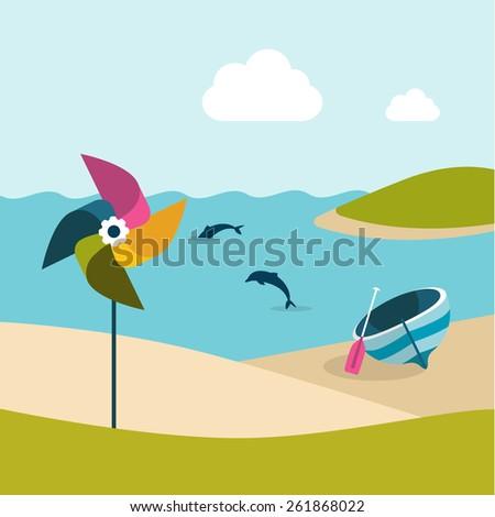 Summer beach day. Boat and pinwheel. Flat design. - stock vector