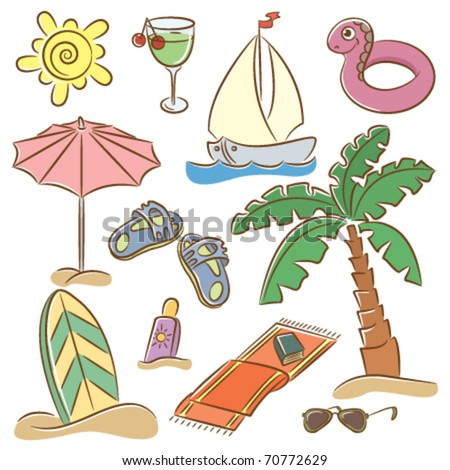 Summer beach doodles icons isolated on white background - stock vector