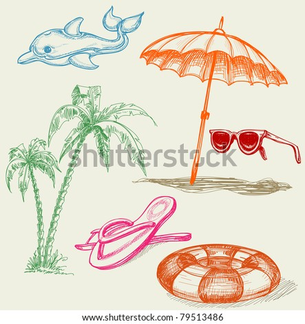 Summer beach holiday items: inflatable dolphin, life buoy, umbrella, sunglasses, palm trees and slippers - stock vector