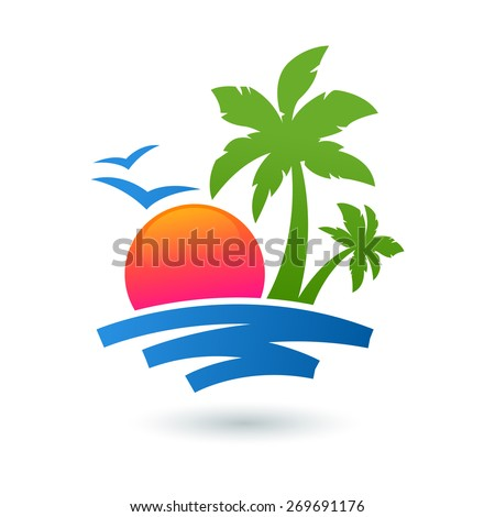 Summer beach illustration, abstract sun and palm tree on seaside. Vector logo design template. Concept for travel agency, tropical resort, beach hotel, spa.  - stock vector