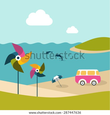 Summer beach island with dolphins, van, umbrella and color pinwheels. Flat design. - stock vector