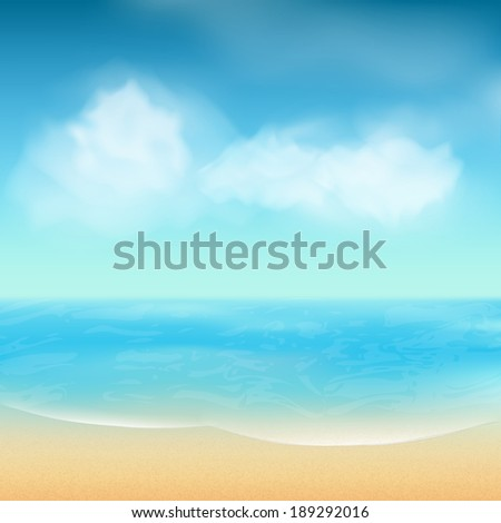 Summer Beach Landscape Scene with Sea, Sand and Fluffy Clouds in a Blue Sky