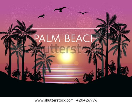 Summer  beach night palm silhouettes on summer sunset with beautiful night sky background. Tropical sunset, summer paradise. Palm beach. Vector illustration