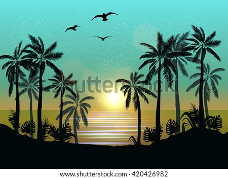 Summer beach night palm silhouettes on summer sunset with beautiful night sky background. Tropical sunset, summer paradise. Vector illustration