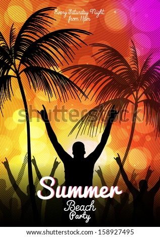 Summer Beach Party Flyer Template Vector Stock Vector