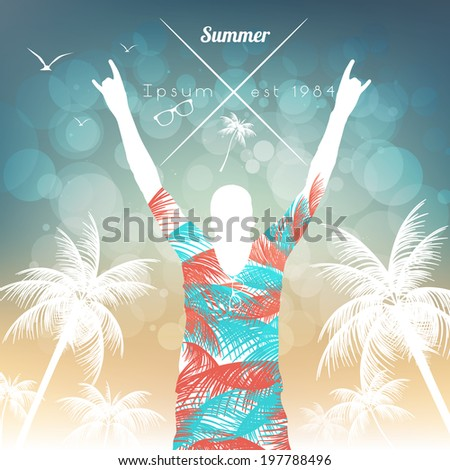 Summer Beach Party Flyer Template - Vector Illustration - stock vector