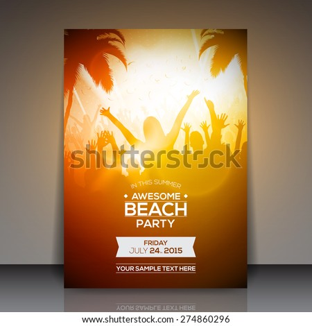 Summer Beach Party Flyer - Vector Design - stock vector
