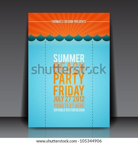 Summer Beach Party Flyer Vector Template - EPS10 Design - stock vector