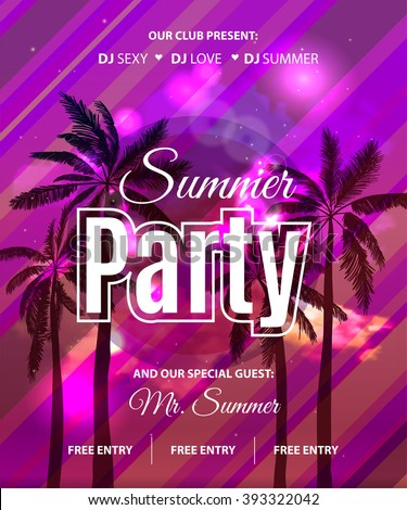 Summer Beach Party Flyer with tropical palm backgound. Vector Design EPS 10 - stock vector