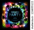 Summer Beach Party Vector Flyer. Salute- vector isolated on black background - stock vector