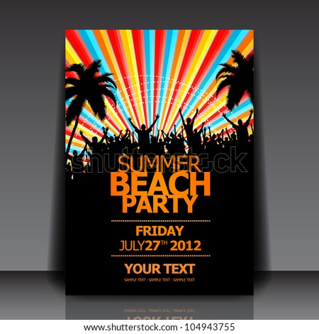Summer Beach Party Vector Flyer Template Stock Vector Hd Royalty
