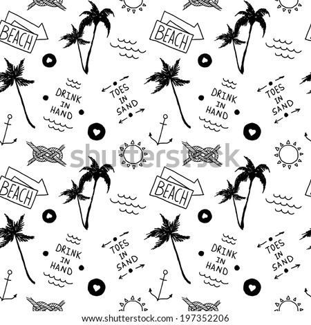 Summer beach pattern in old school tattoo style, vector - stock vector