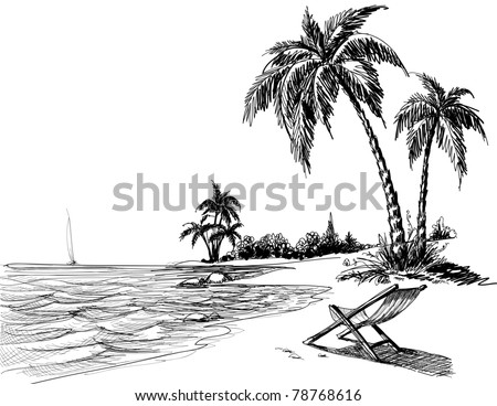 Summer beach pencil drawing - stock vector