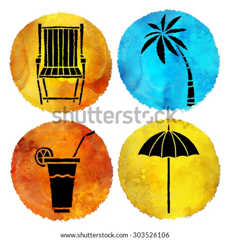 Summer beach prints set. Watercolor circle pant stains, deck chair, palm tree, cocktail with fruit and straw, sun umbrella black hand drawn icons isolated on white background  - stock vector