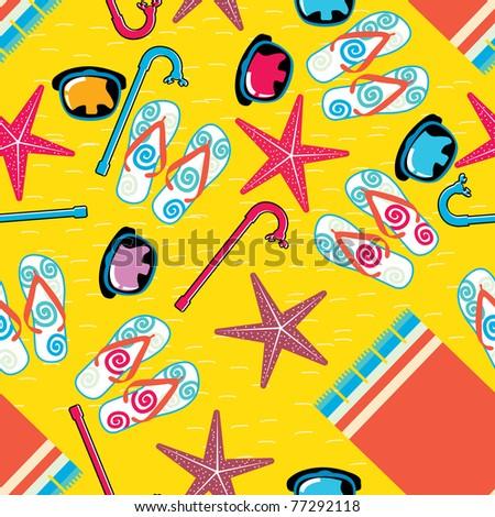 Summer beach scene -  seamless pattern - stock vector