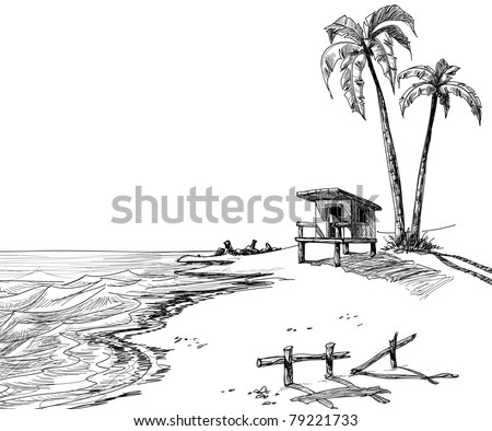 Summer beach sketch with palm trees and lifeguard stand - stock vector
