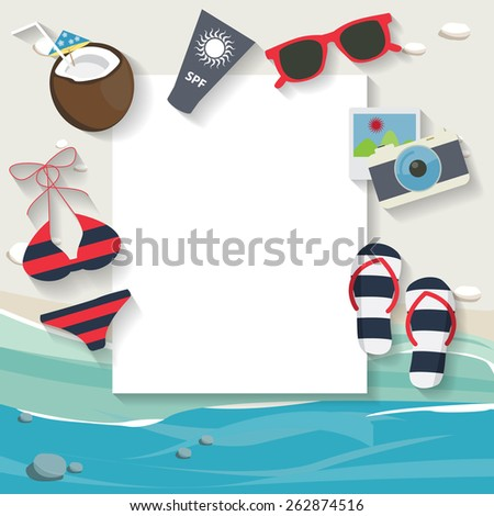 summer beach, travel,  and vacation background,  fun and color concept, text can be added - stock vector