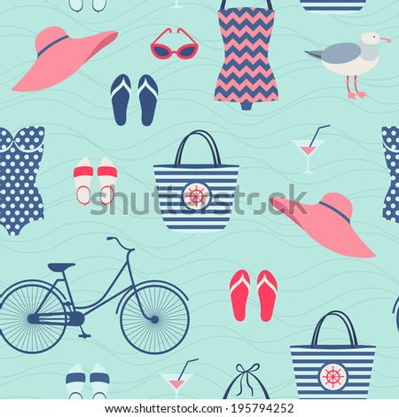 Summer beach vacation outfit seamless pattern - stock vector
