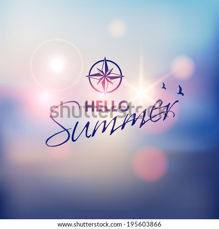 Summer Beach-Vector background - stock vector