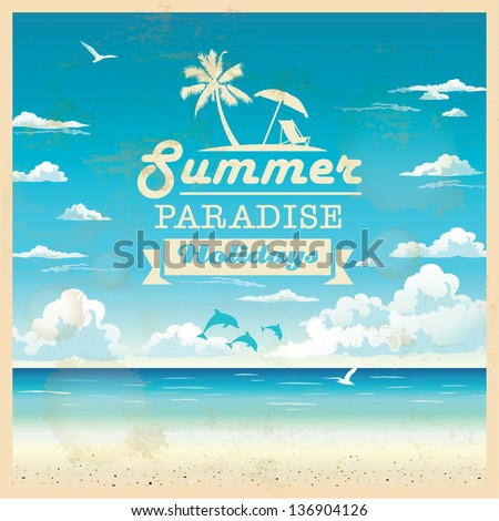 Summer beach vector background in retro style - stock vector