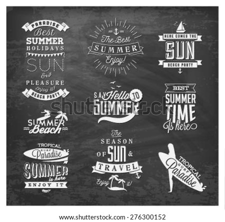 Summer Beach Vector Calligraphy Design Elements in Vintage style on Chalkboard - stock vector