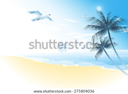 Summer beach with palm trees and seagull  vector illustration. Tropical landscape - stock vector