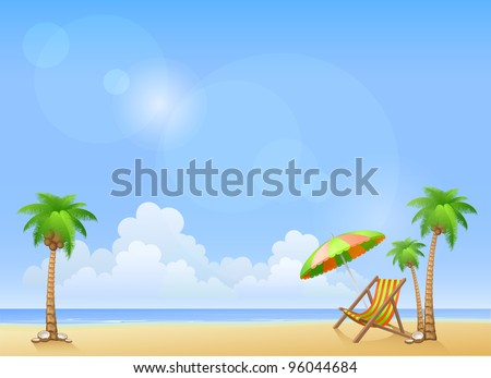 Summer beach with palms and chaise lounge. Vector background - stock vector