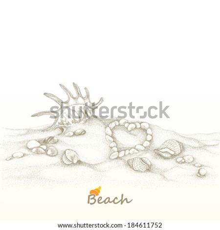 Summer beach with seashells, hand-drawn illustration. - stock vector