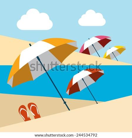 Summer beach with umbrellas. Flat design. - stock vector