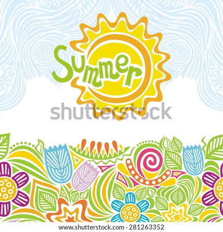 Summer beautiful floral pattern and sun vector illustration - stock vector