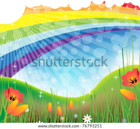Summer blooming meadow and rainbow in the sky - stock vector