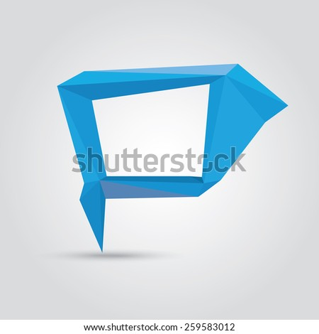 summer blue Conceptual polygonal geometric speech bubble. Abstract vector Illustration, low poly style. Stylized design element. Background design for banner, poster, flyer, cover, brochure. - stock vector