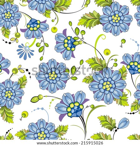 Summer Blue Flowers Seamless Pattern. Stylish beautiful vector background - stock vector