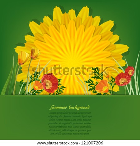 Summer bright background with dandelion and poppies - stock vector