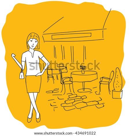 Summer cafe. Girl with a handbag near the cafe. - stock vector