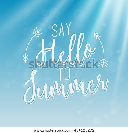 Summer Calligraphic Design in Vintage Style Blue Water Background. Greeting Card Illustration - stock vector