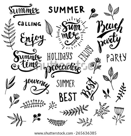 Summer Calligraphic Designs Set Flowers Floral Stock Vector 265636385