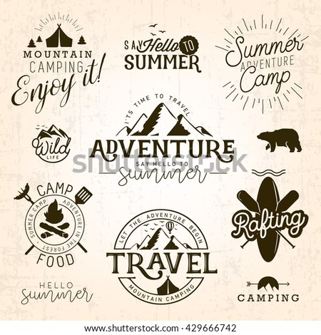 Summer Camp, Adventure and Travel Design Elements in Vintage Style - stock vector