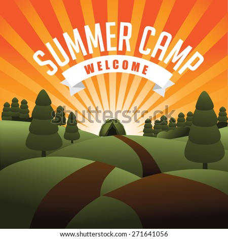 Summer camp burst. EPS 10 vector  - stock vector