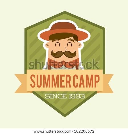 summer camp design over beige background, vector illustration - stock vector