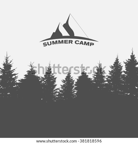 Summer Camp. Image of Nature. Tree Silhouette. Vector Illustration - stock vector