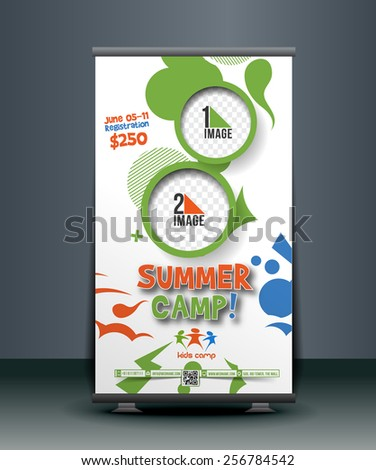 Summer Camp Roll Up Banner Design - stock vector