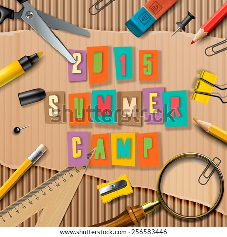 Summer Camp themed poster, vector illustration.  - stock vector