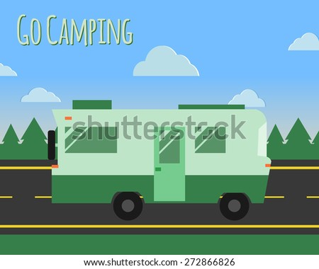 Summer camp travel poster logo badge. Motorhome on the road. Outdoor activity and vacation banner. Vector illustration. - stock vector