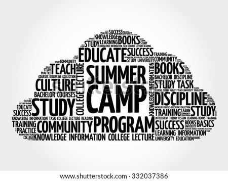 Summer Camp word cloud, education concept - stock vector