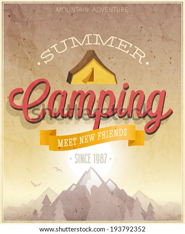 Summer Camping poster. Vector illustration. - stock vector