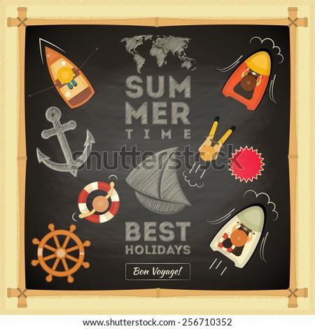 Summer Card on Chalkboard. Sea Theme. Vector Illustration. - stock vector