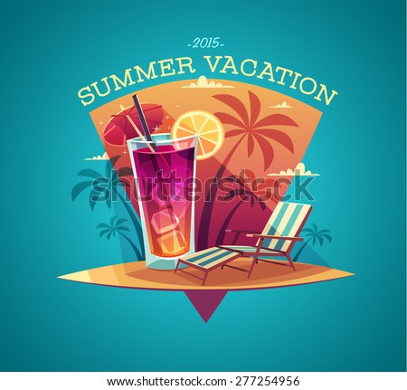 Summer card / poster / template. Vector illustration. - stock vector