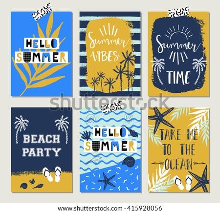 Summer cards - stock vector