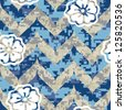 Summer Chevron Camouflage with Flowers Seamless Background Pattern - stock vector